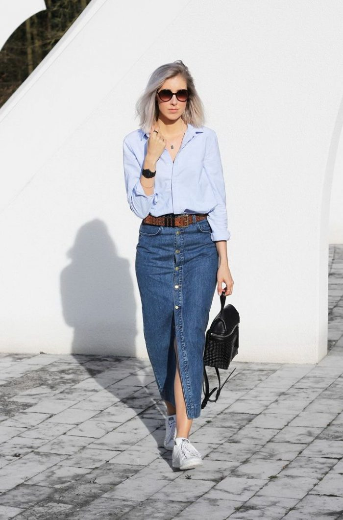 Denim Skirts Best Outfits For Street Walks (16)