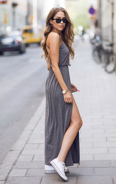 What Shoes can I Wear with a Maxi Dress Street Style (34)