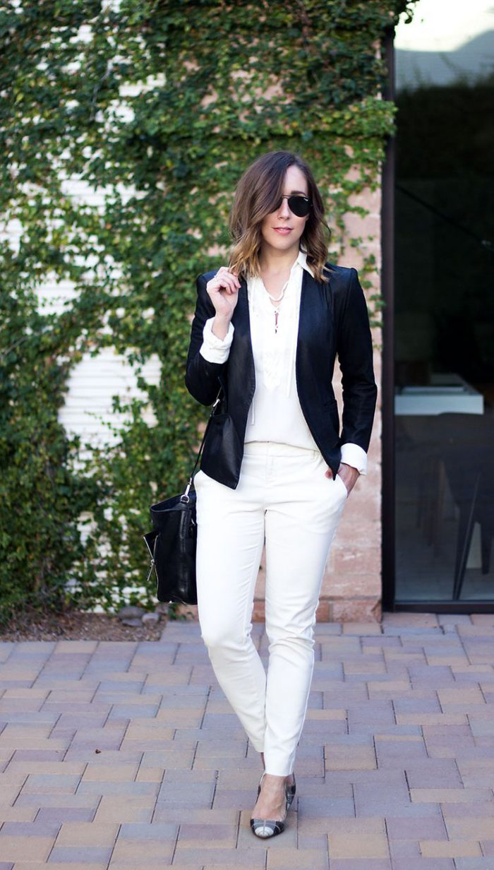 Can i wear black shoes with white pants
