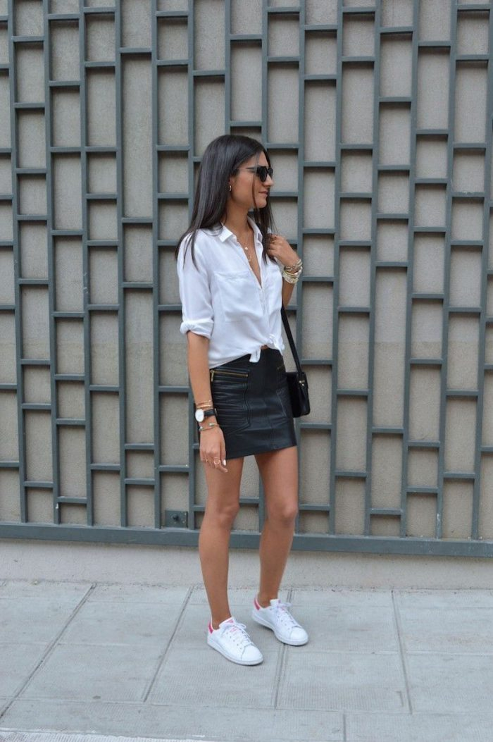 42 Inspiring Black Leather Skirts 2020