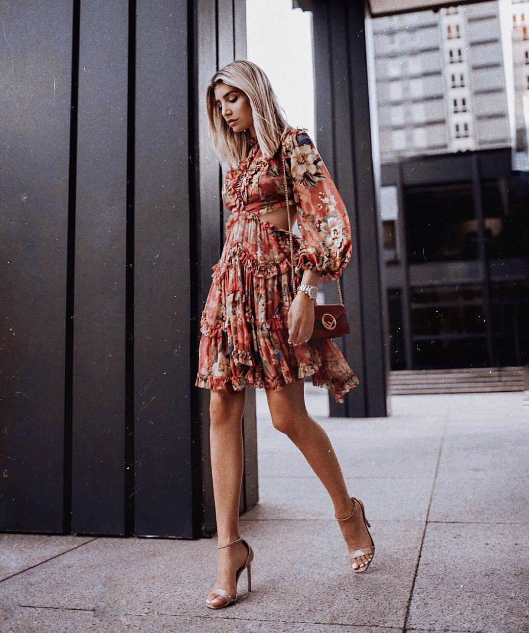 Floral Boho Dress With Side Cut Outs And Puff Sleeves 2021