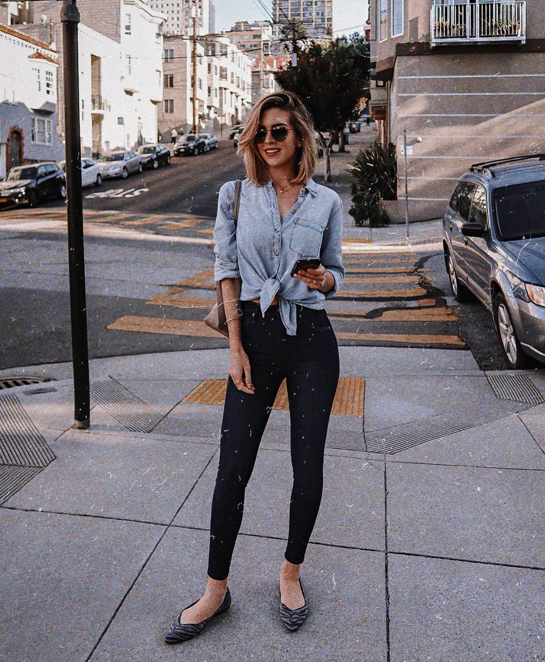 Front Tie Chambray Shirt And Black Leggings For Casual Summer 2020