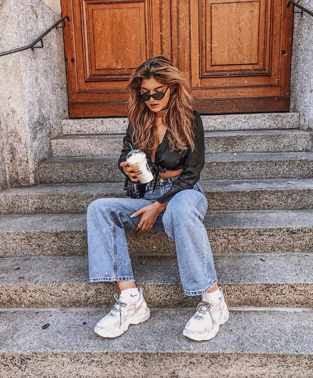 Silk Black Crop Blouse, Boyfriend Jeans