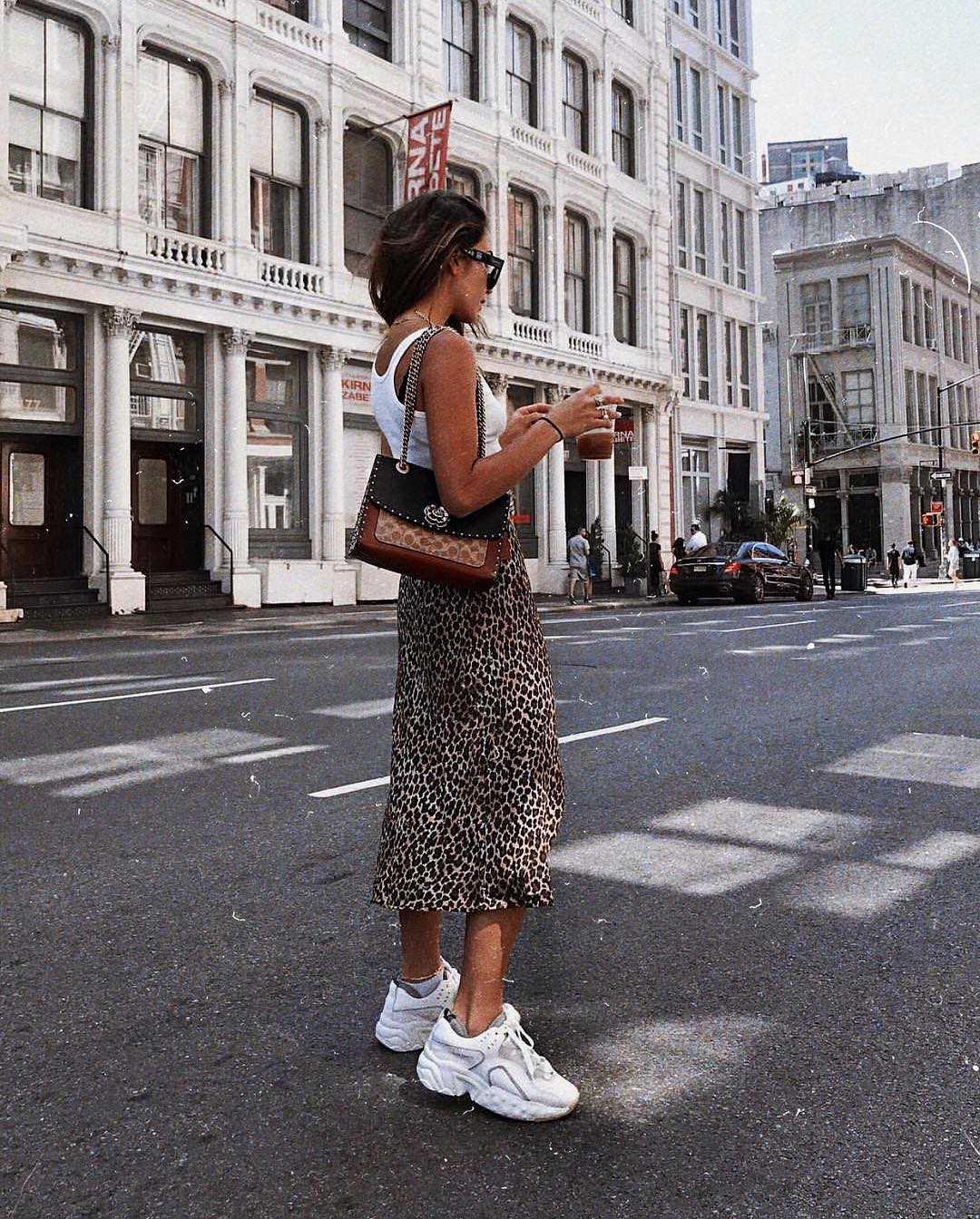 Can I Wear Leopard Print Midi Skirt With White Sneakers This Summer 2020