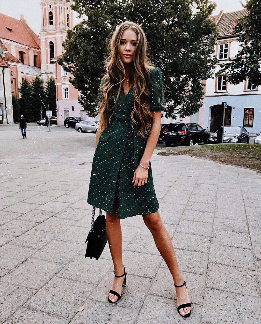 Retro Style Dark Green Shirt Dress In White Dots For Summer 2020