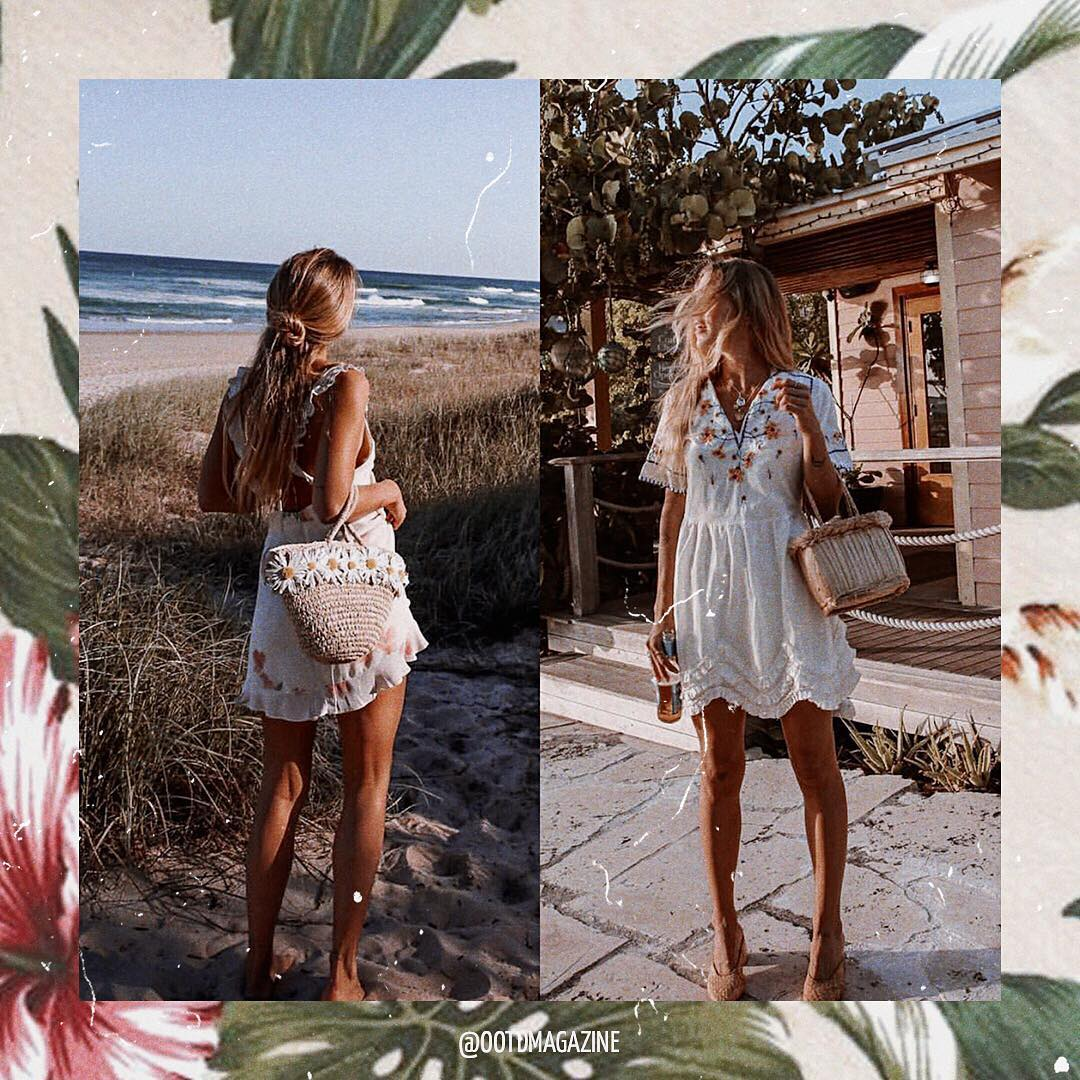 White Peasant Dresses For Bohemian Summer 2019