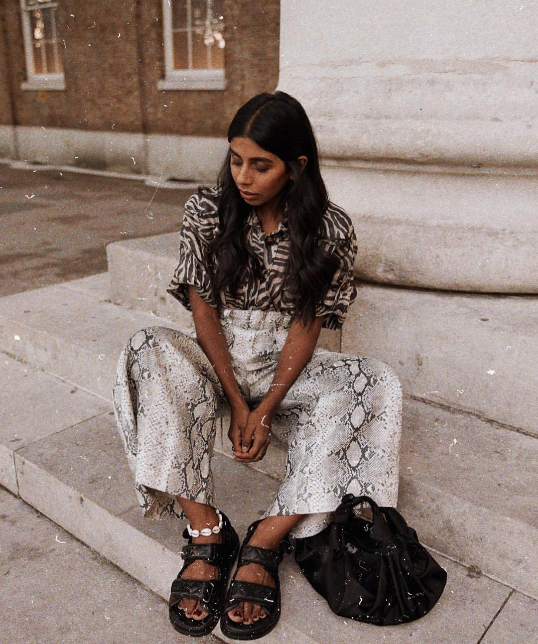 Zebra Print Shirt And Snakeskin Print Wide Pants With Birkenstocks For Summer 2019
