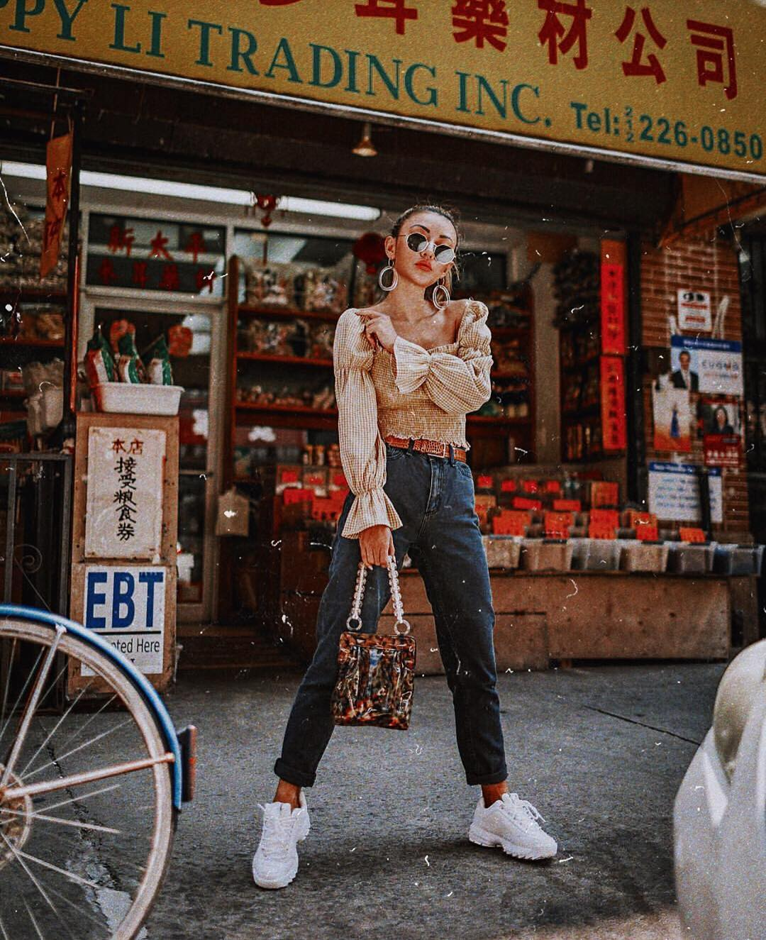 Puff Long Sleeve Blouse With Cuffed Jeans And White Sneakers For Spring 2019