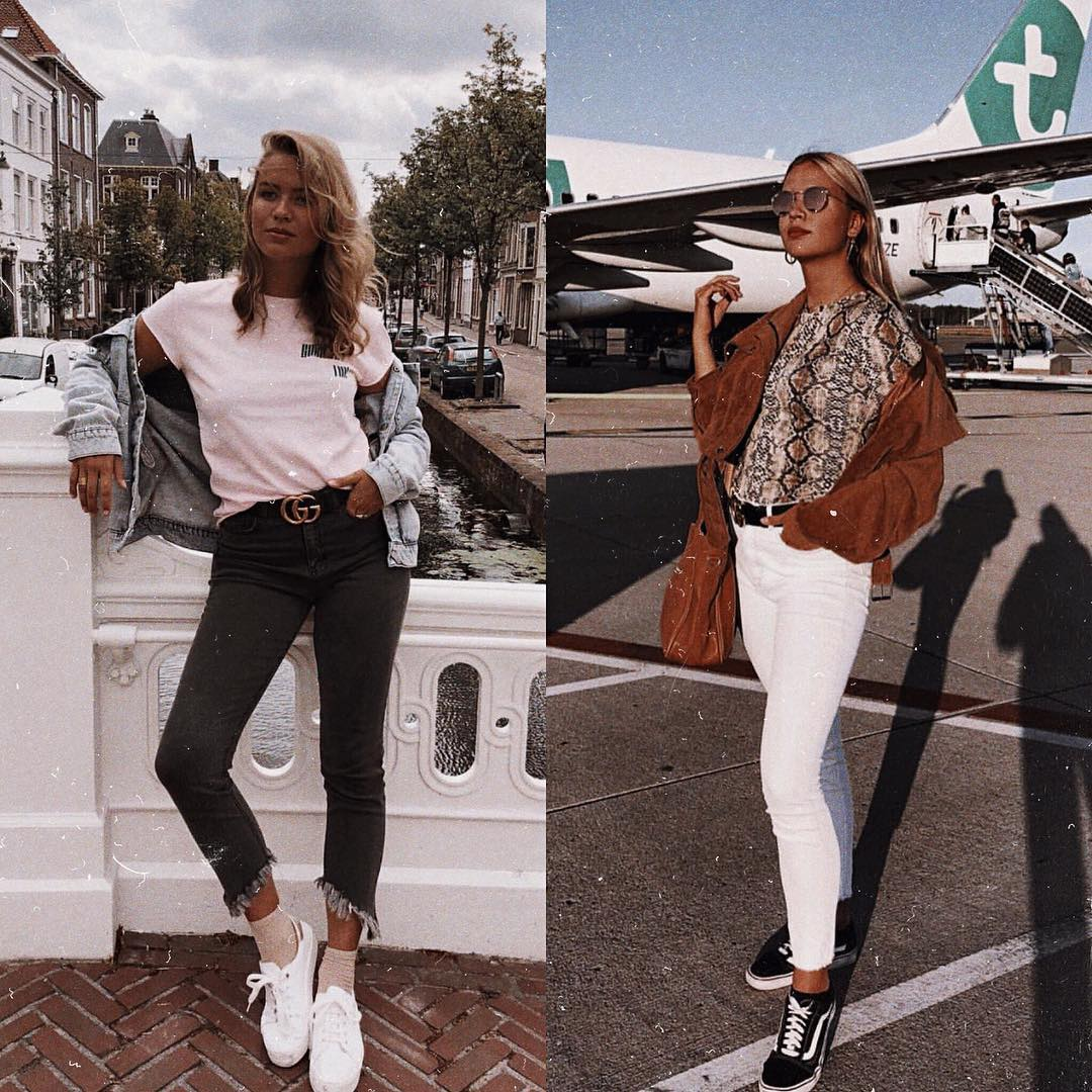 Airport Outfit Ideas For Summer: Sneakers, Jeans And Tee 2020