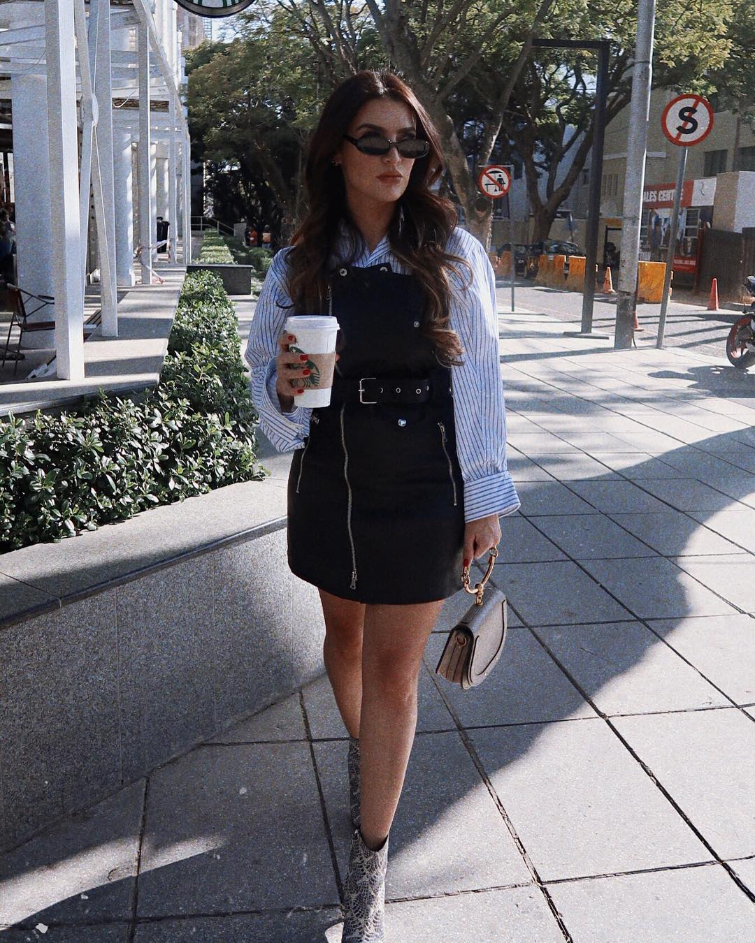Black Biker Style Dress With Zip Detailing And Oversized Striped White Shirt Combo 2020