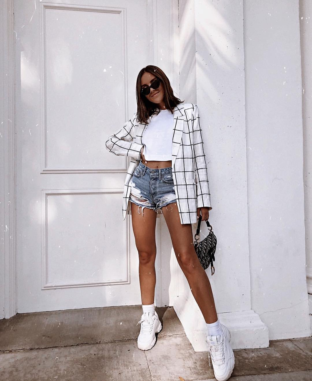 Windowpane White Blazer With White Crop Top, Ripped Denim Shorts And Chunky Kicks In White 2019