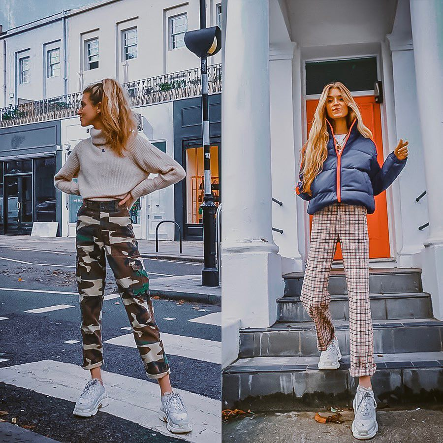 How To Wear Printed Pants With Grey-White Sneakers This Fall 2019
