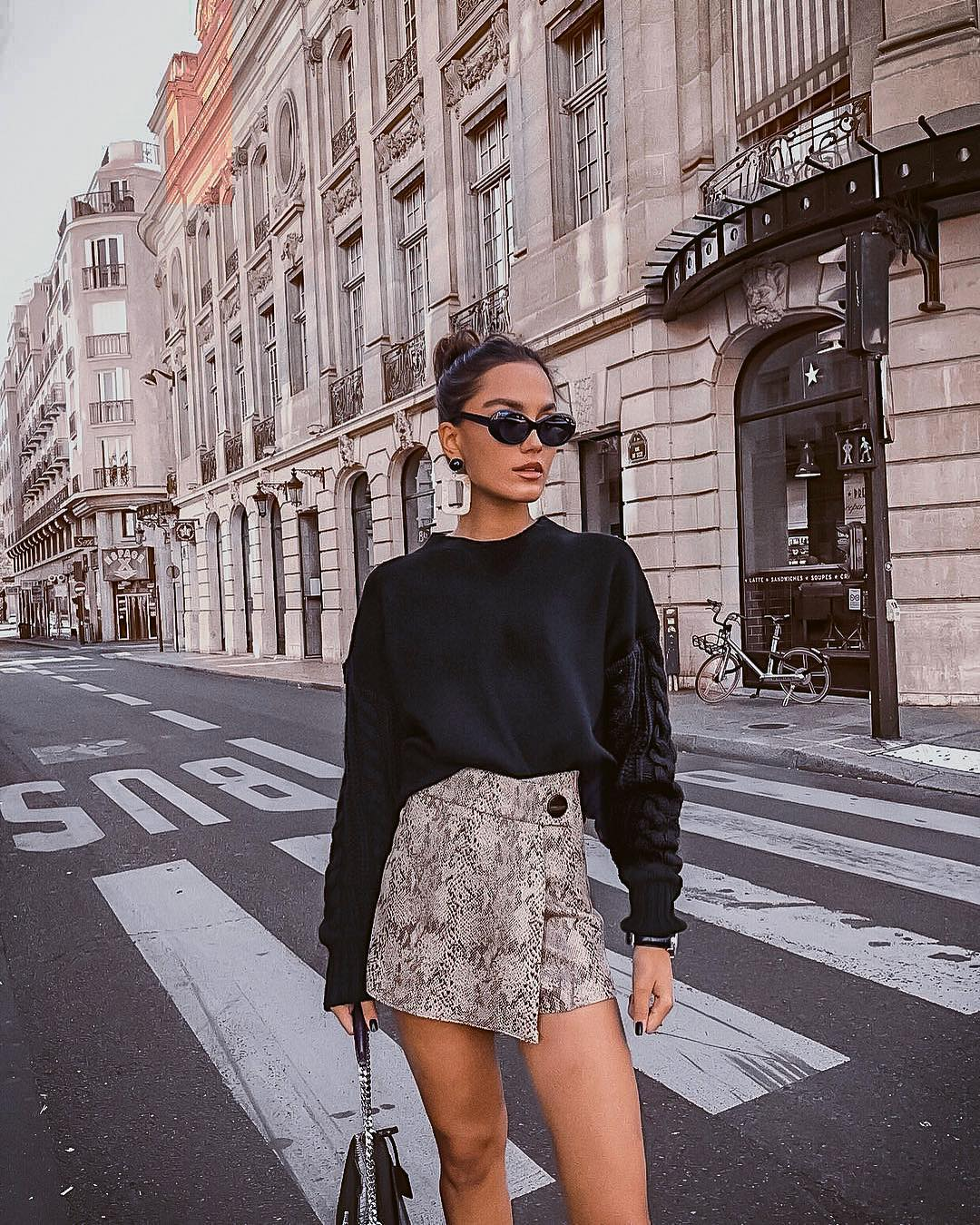 Bulky Sweater In Black And Wrap Mini Skirt For Fall 2020
