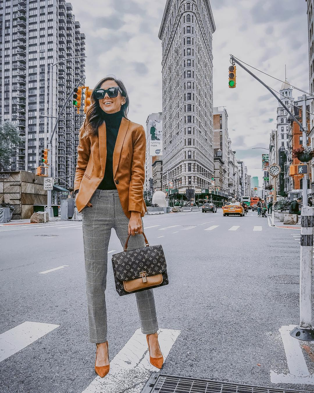 Camel Blazer And Grey Plaid Pants For Fall 2019