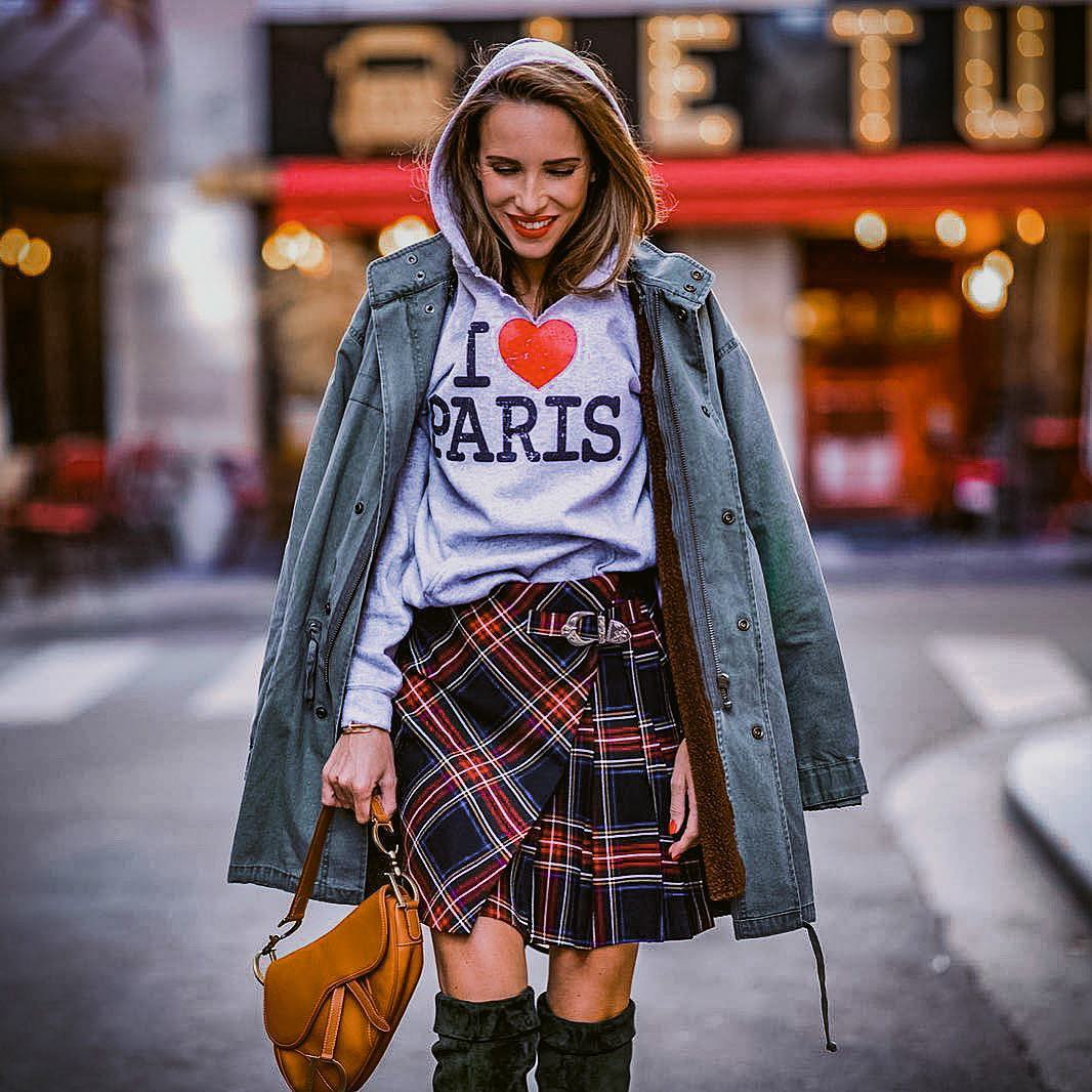Paris Casual Outfit Idea For Fall: Parka, Hoodie And Plaid Skirt 2020