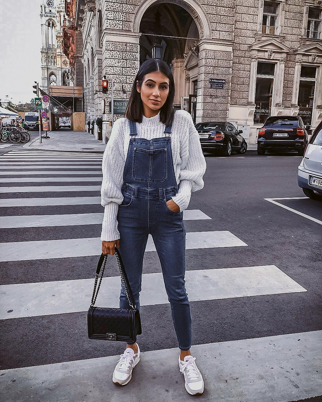 Casual Sporty Basics: Denim Overalls, White Sweater And White Sneakers 2019
