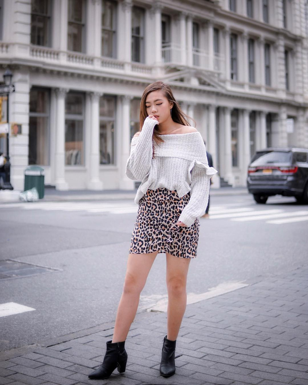 Off Shoulder Cream Grey Sweater And Leopard Print Skirt For Fall 2020
