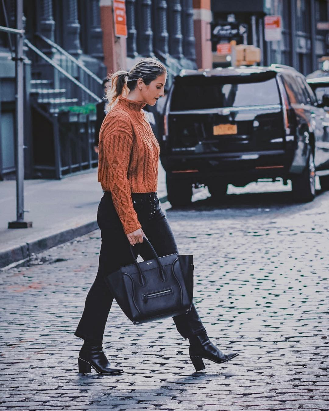 High Neck Pastel Orange Sweater And Black Slim Jean For Fall 2019