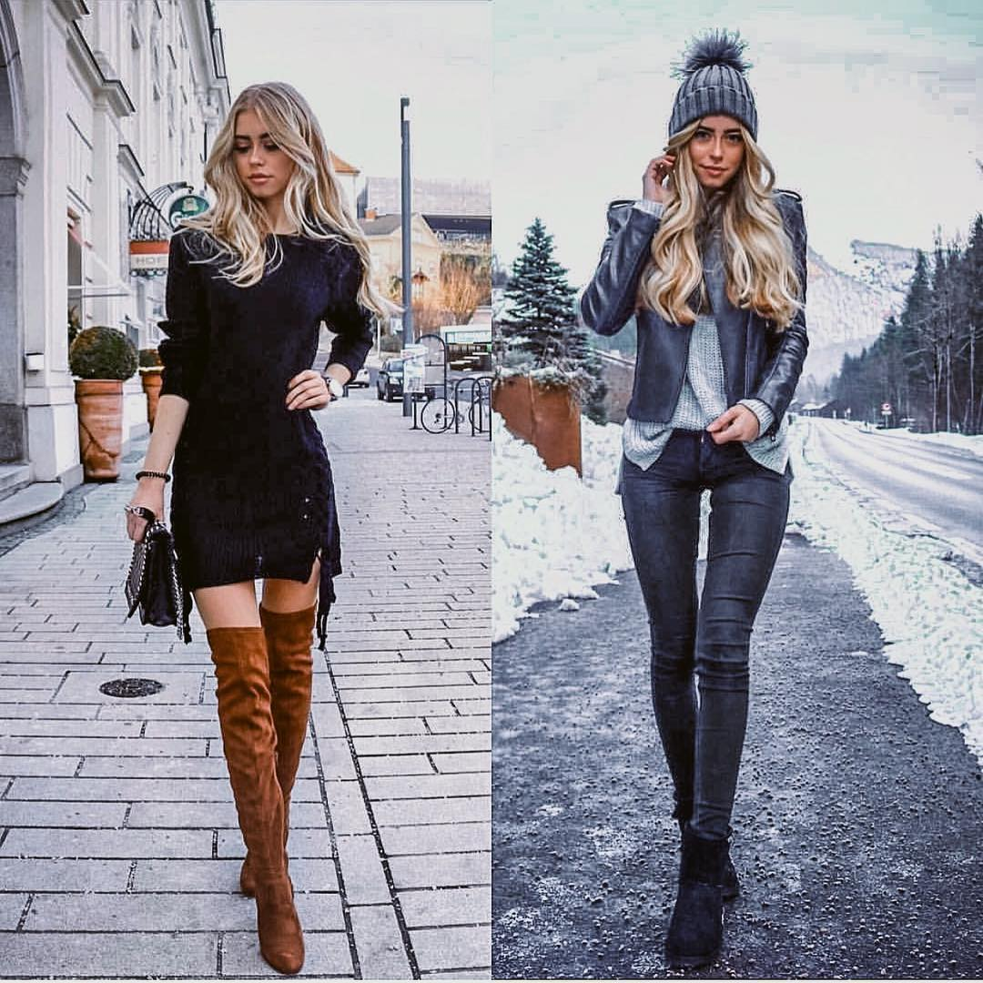 Winter Essentials: Black Dress Or Edgy Leather Jacket And Skinny Coated Pants 2020