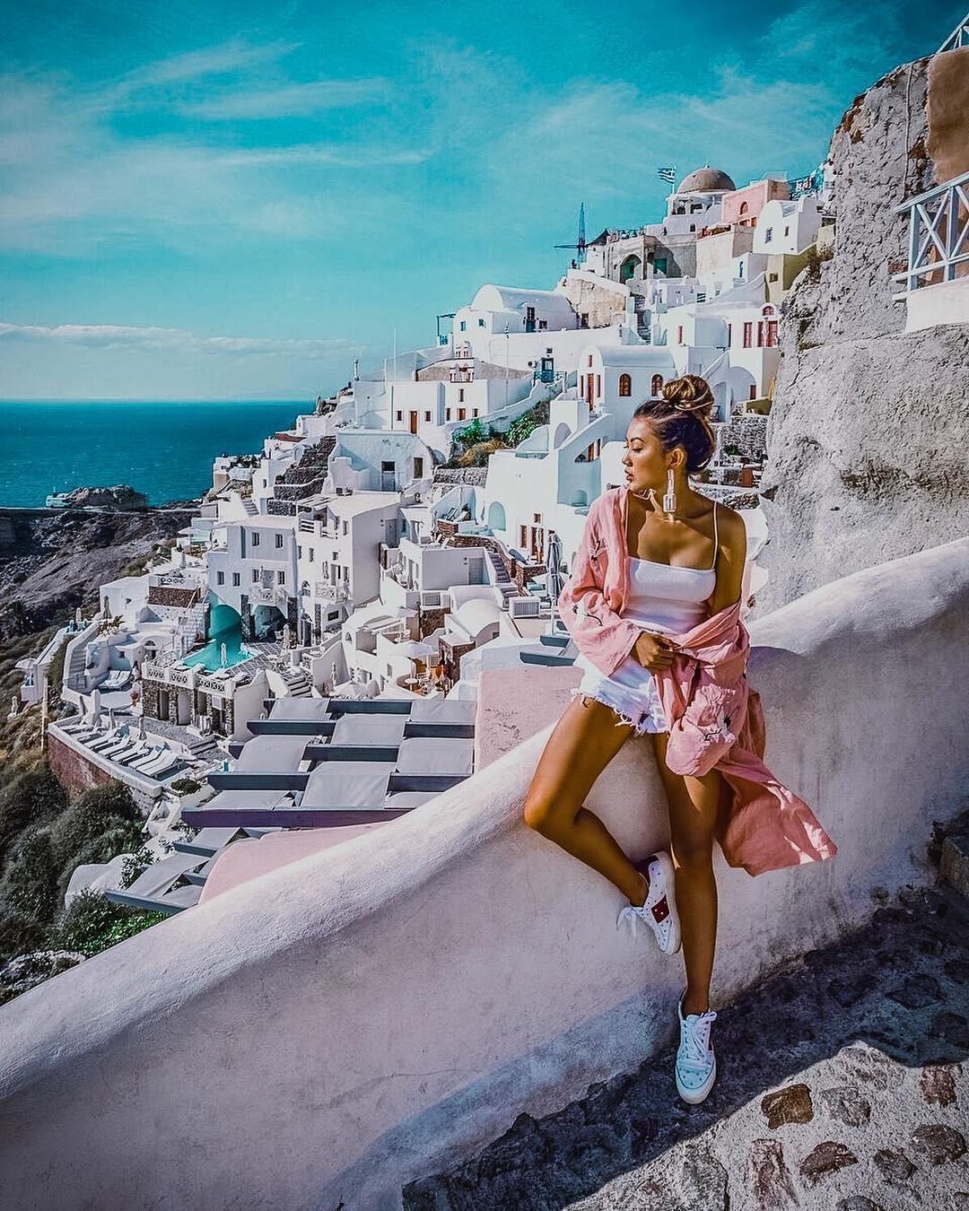 Pink Kimono For Santorini Trip This Summer 2020