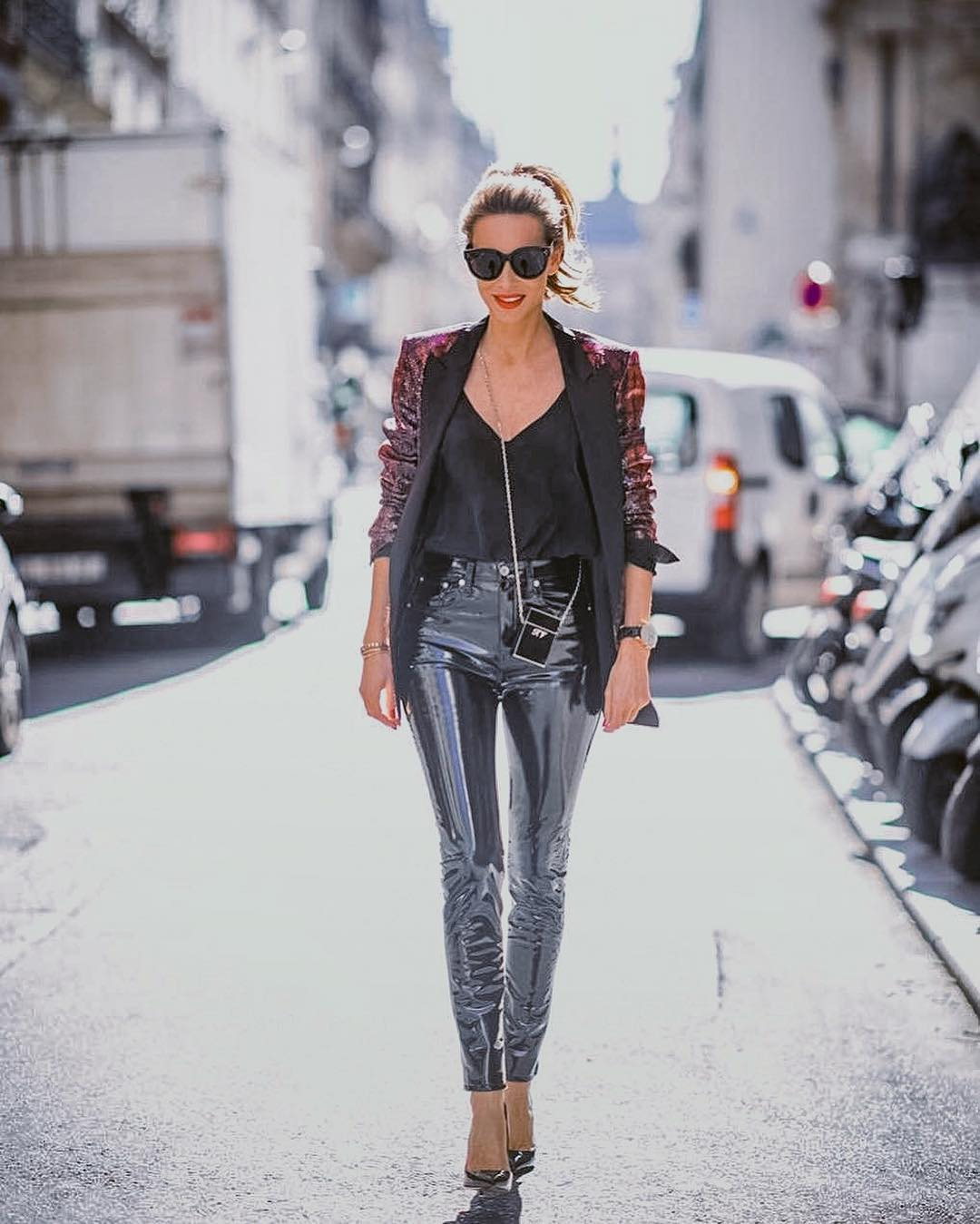 Velour Blazer And Patent Leather Pants Combo For Fall 2019