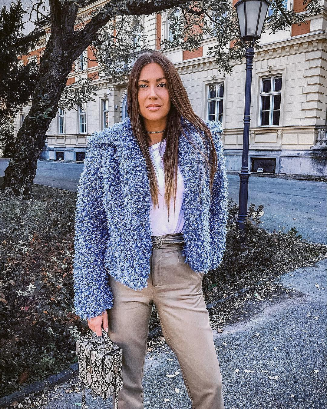 Blue Faux Fur Jacket With White Top And Grey Pants For Fall 2020