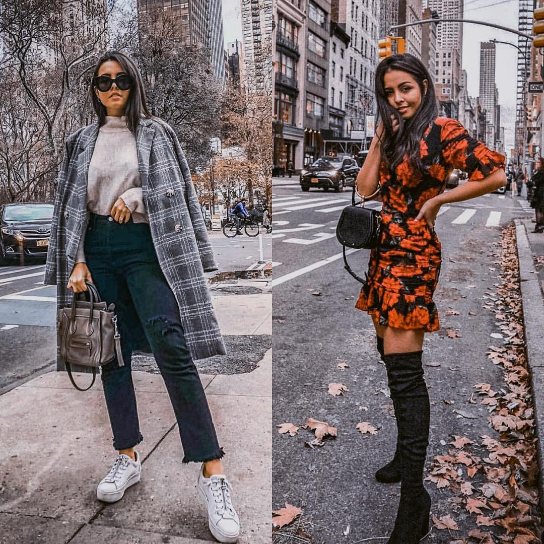 Sneakers And Plaid Coat Or Dress And OTK Boots For Winter In New York 2019