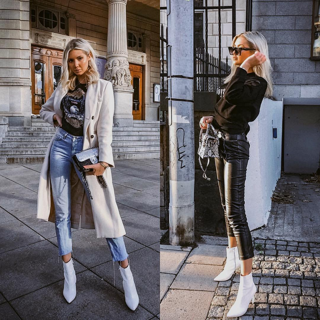 How To Wear White Ankle Boots In Casual Way This Fall 2019