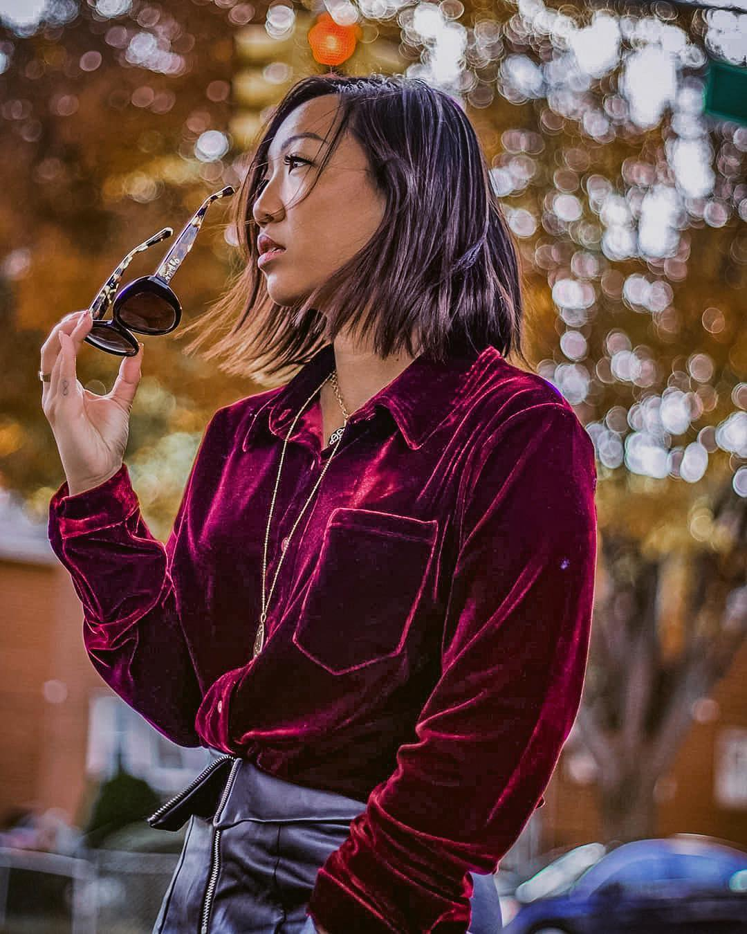 Velour Shirt In Maroon Tucked In Black Leather Skirt: Fall OOTD 2019