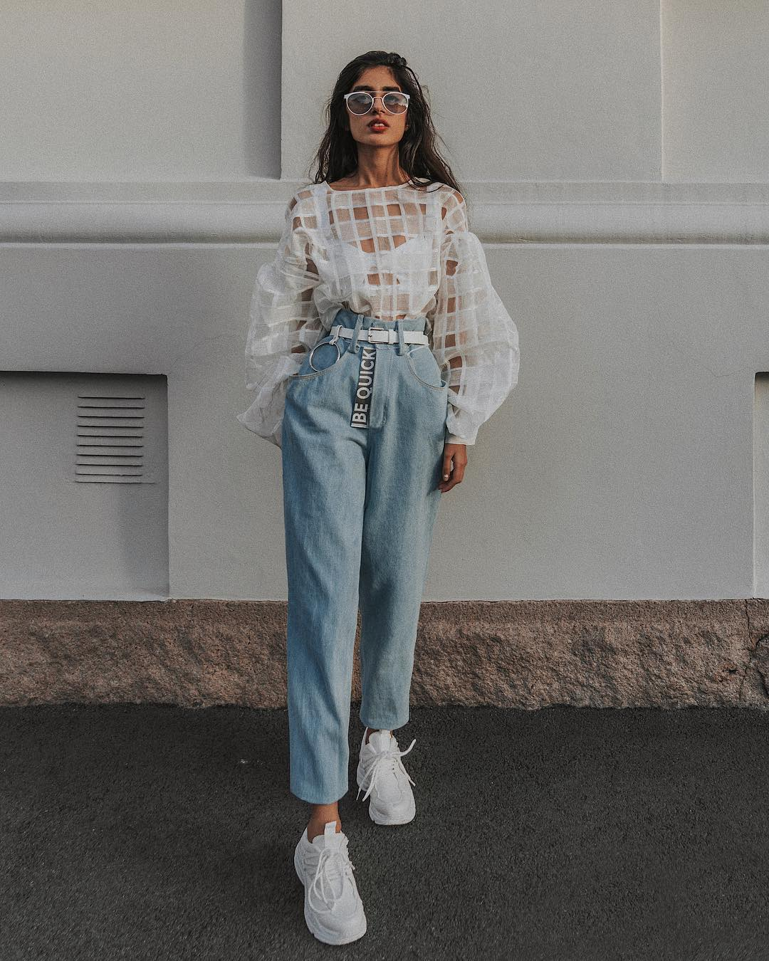 White Sheer Top And High-Rise Light Blue Regular Jeans: Feminine Normcore Trend 2020