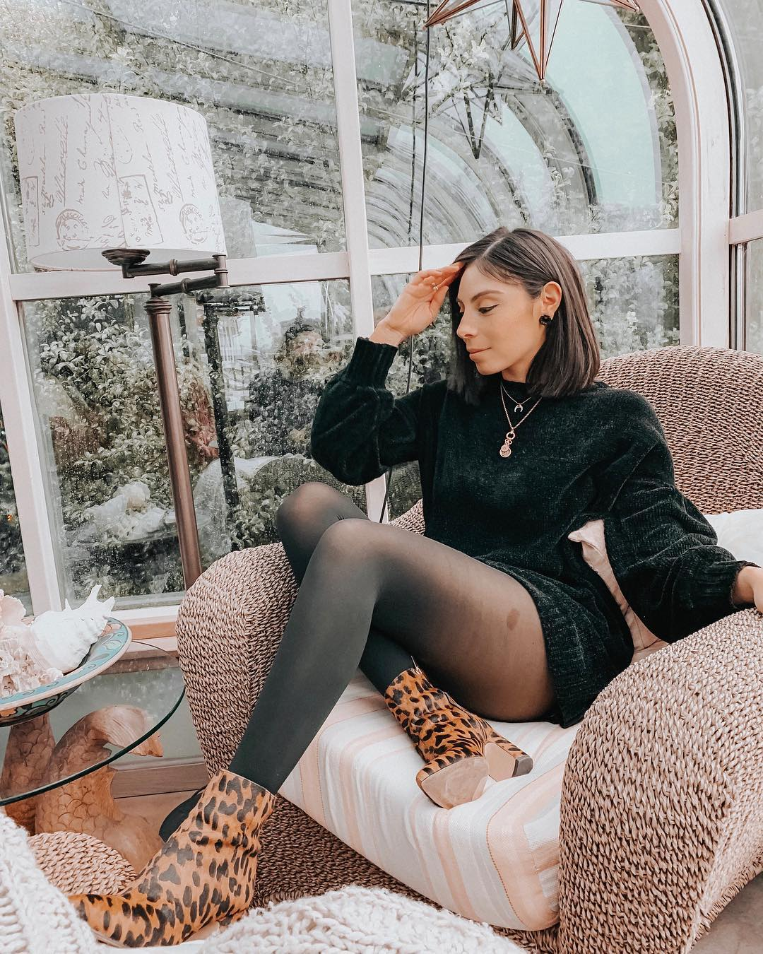 Shiny Black Sweater Dress, Tights And Leopard Print Ankle Boots For Fall 2020