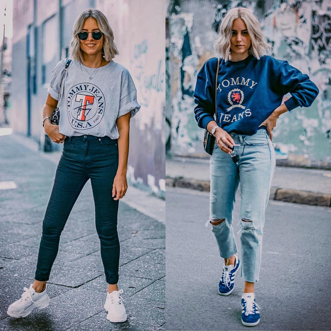 Sporty Casual Outfit For Fall: Printed Top, Jeans And Sneakers 2019