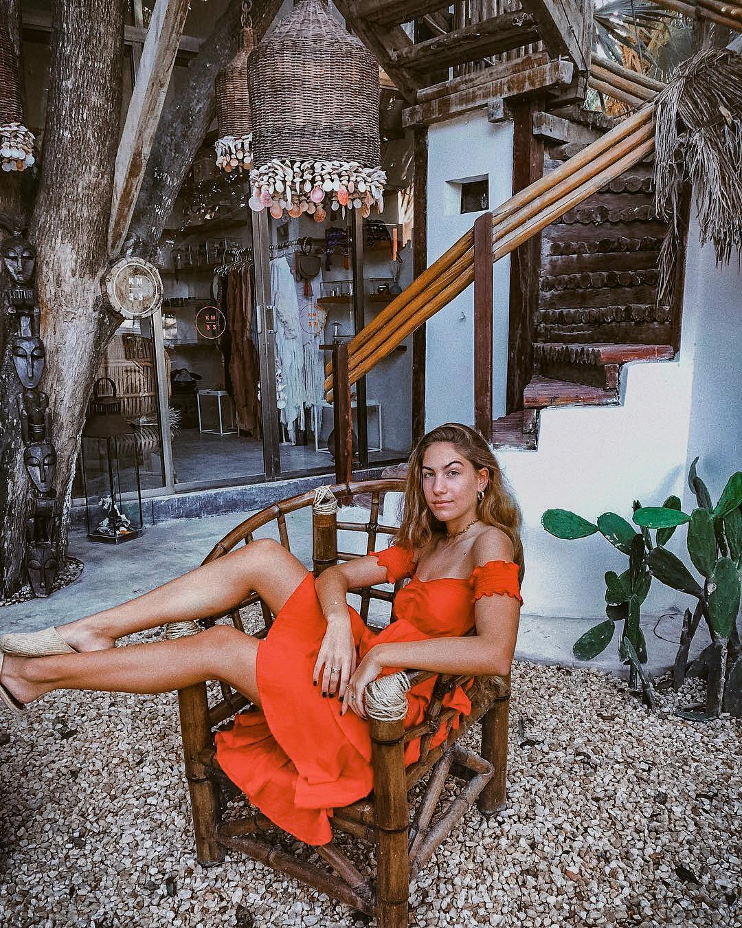 Orange Strapless Sundress For Summer Vacation 2019
