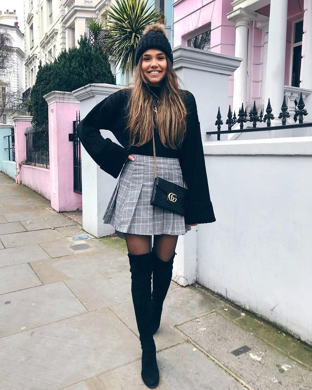 Black Sweater And Plaid Mini Skirt For Fall 2019