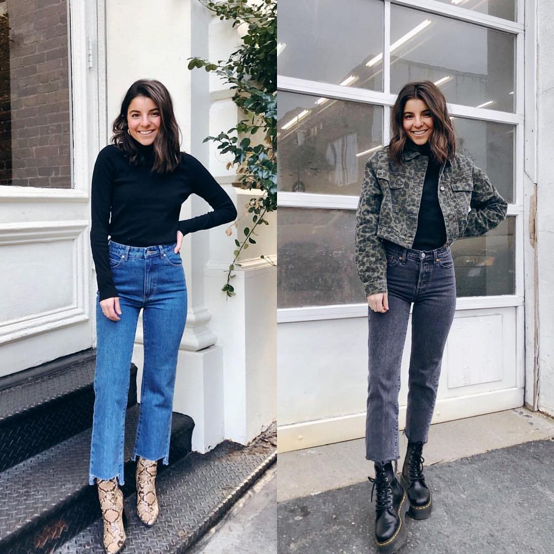 How To Wear Denim This Fall: Snakeskin Boots And Combat Boots 2020