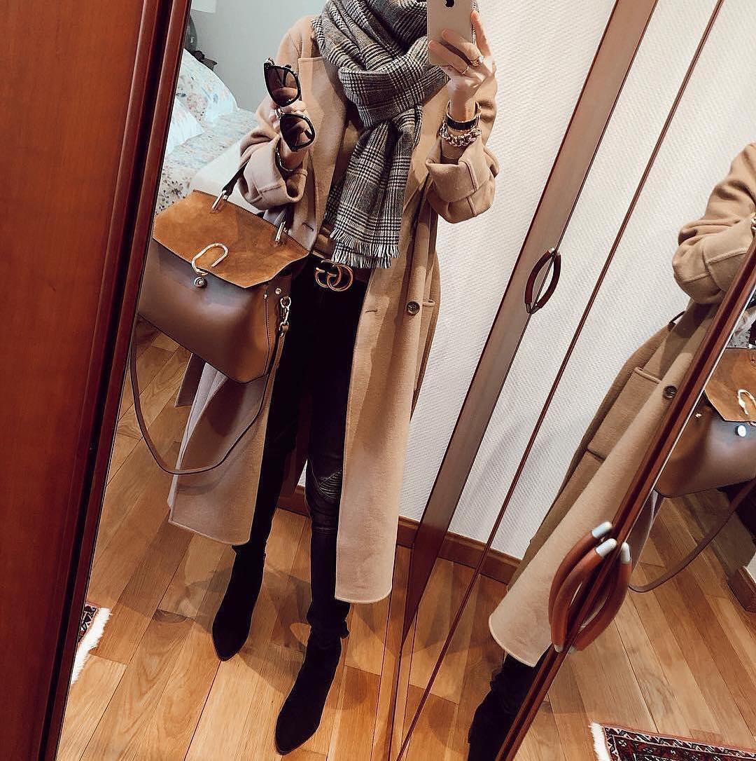Fall Basics: Camel Coat, Plaid Scarf And OTK Boots 2019