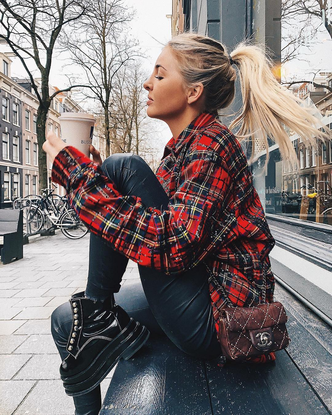 Modern Grunge Essentials: Plaid Red Shirt, Black Leather Pants And Platform Leather Boots 2020