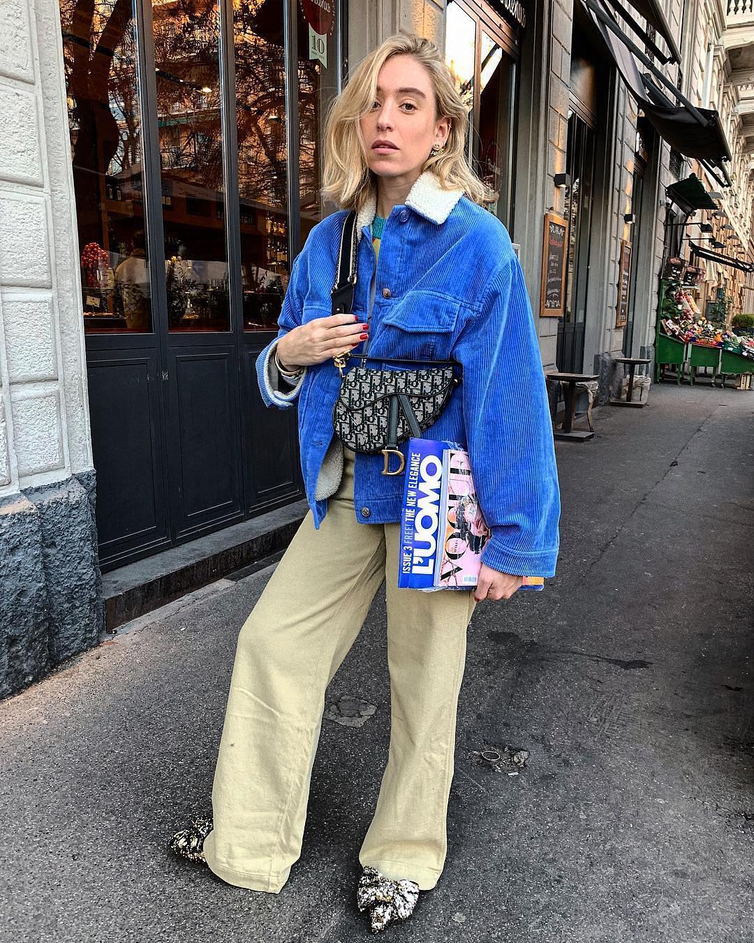 Seventies Must Haves: Corduroy Blue Jacket And Wide Pants 2019