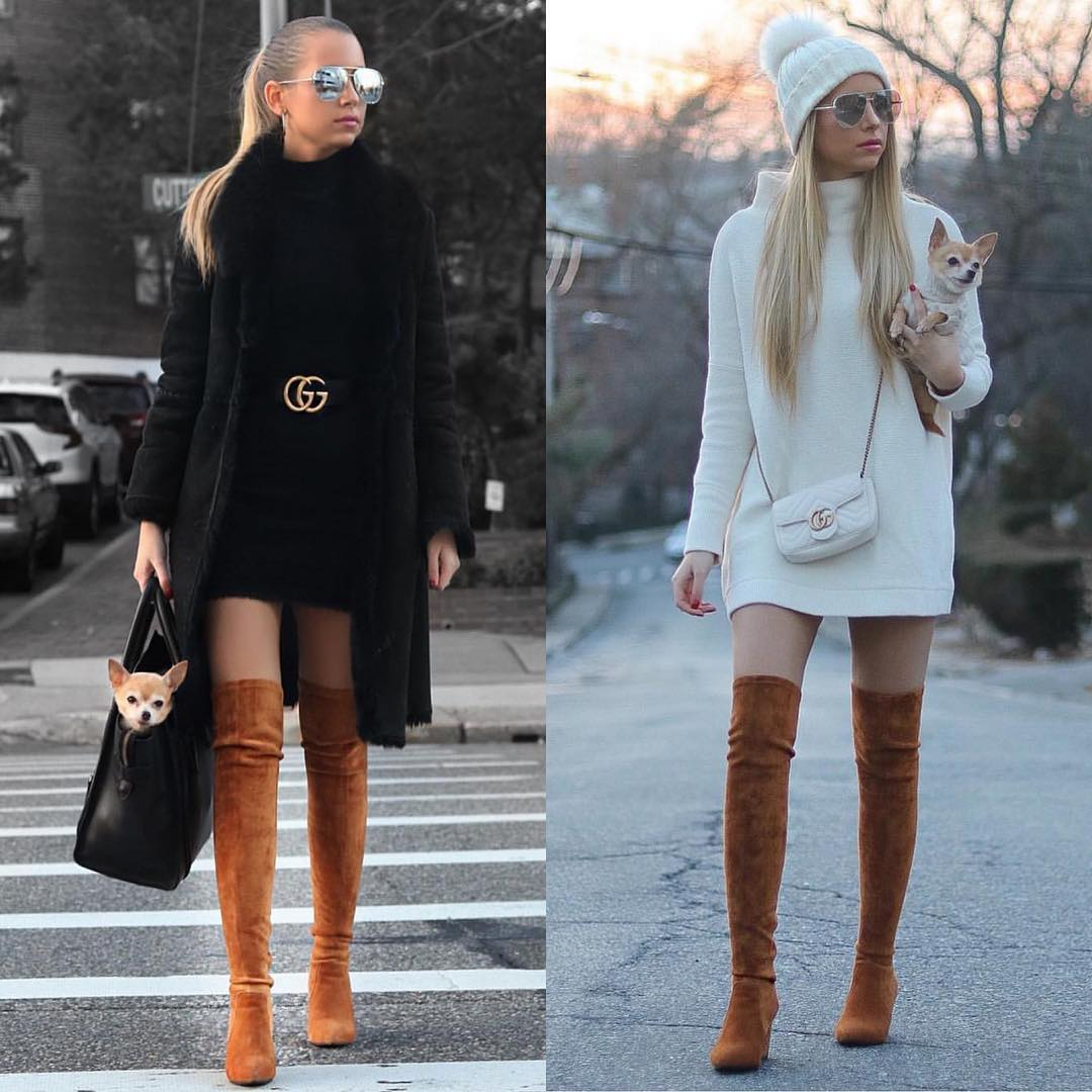 Sweater Dresses And OTK Boots For Fall 2019