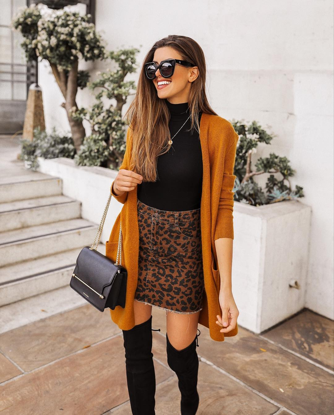 How To Wear Leopard Print Skirt And Mustard Cardigan This Fall 2020