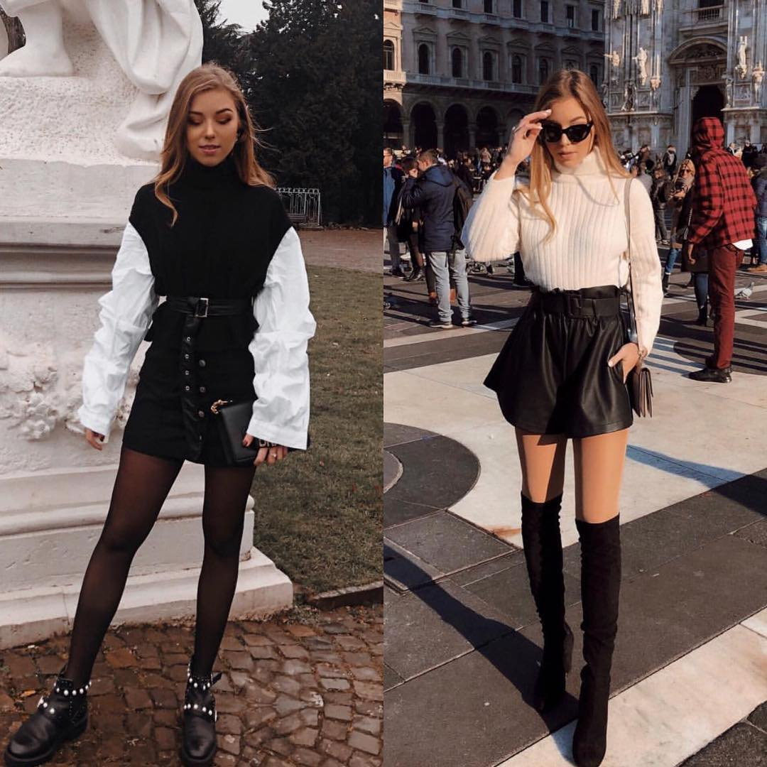 Velour Skirt Or Leather Skirt For Fall Street Walks 2019