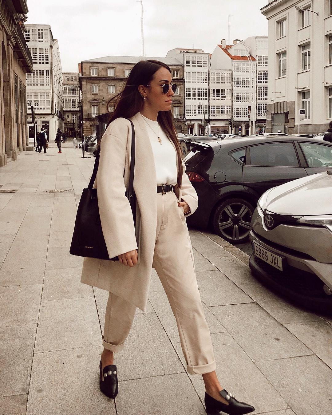 Oversized Pantsuit In Cream White For Young Ladies 2019