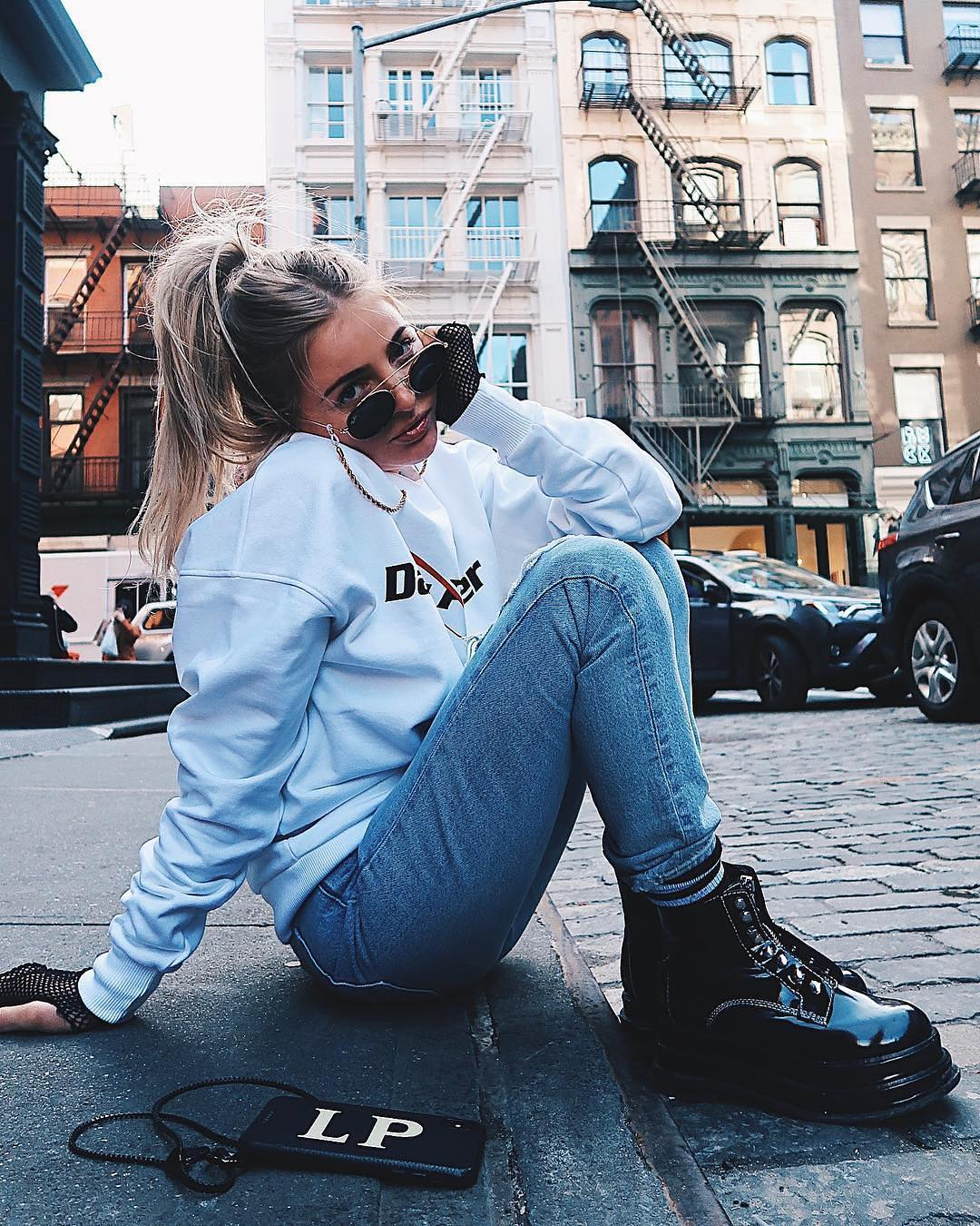 Patent Combat Boots, White Sweatshirt And Jeans For Casual Street Walks 2019