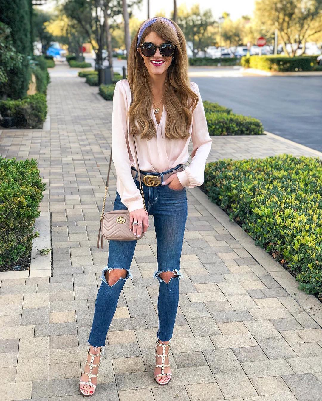 Cream Blush Blouse And Knee Ripped Blue Jeans For Weekend Parties 2019