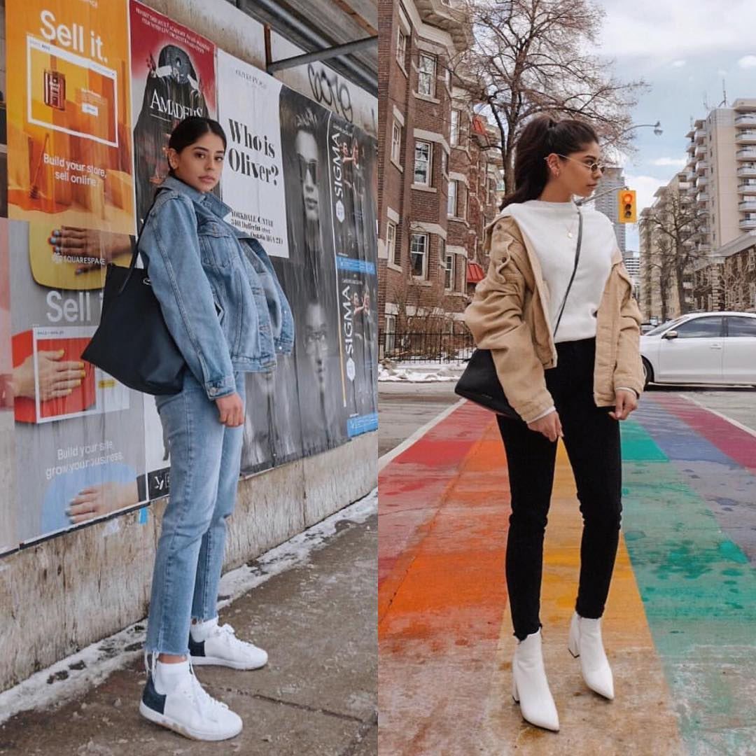 Denim On Denim Or Camel Jacket And White Boots For Fall 2019