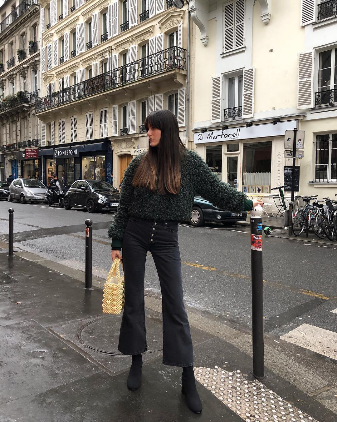 Mohair Sweater And Flared Crop Jeans For Parisian Chic Walk 2019