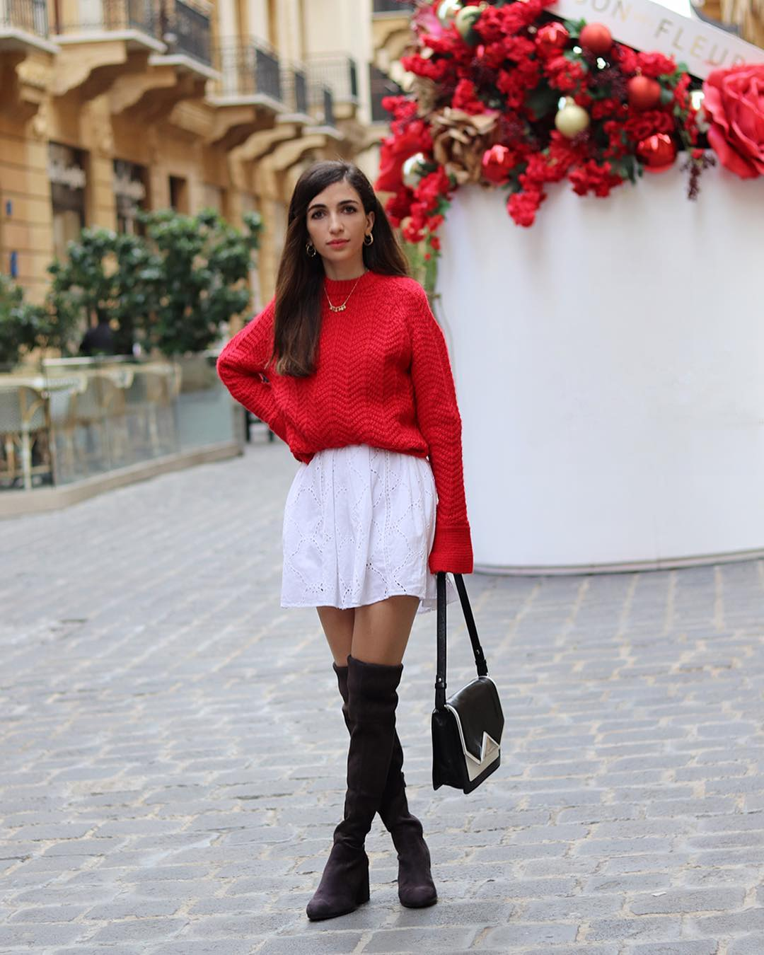 Can I Wear Red Sweater Over White Shirtdress With Black OTK Boots 2019