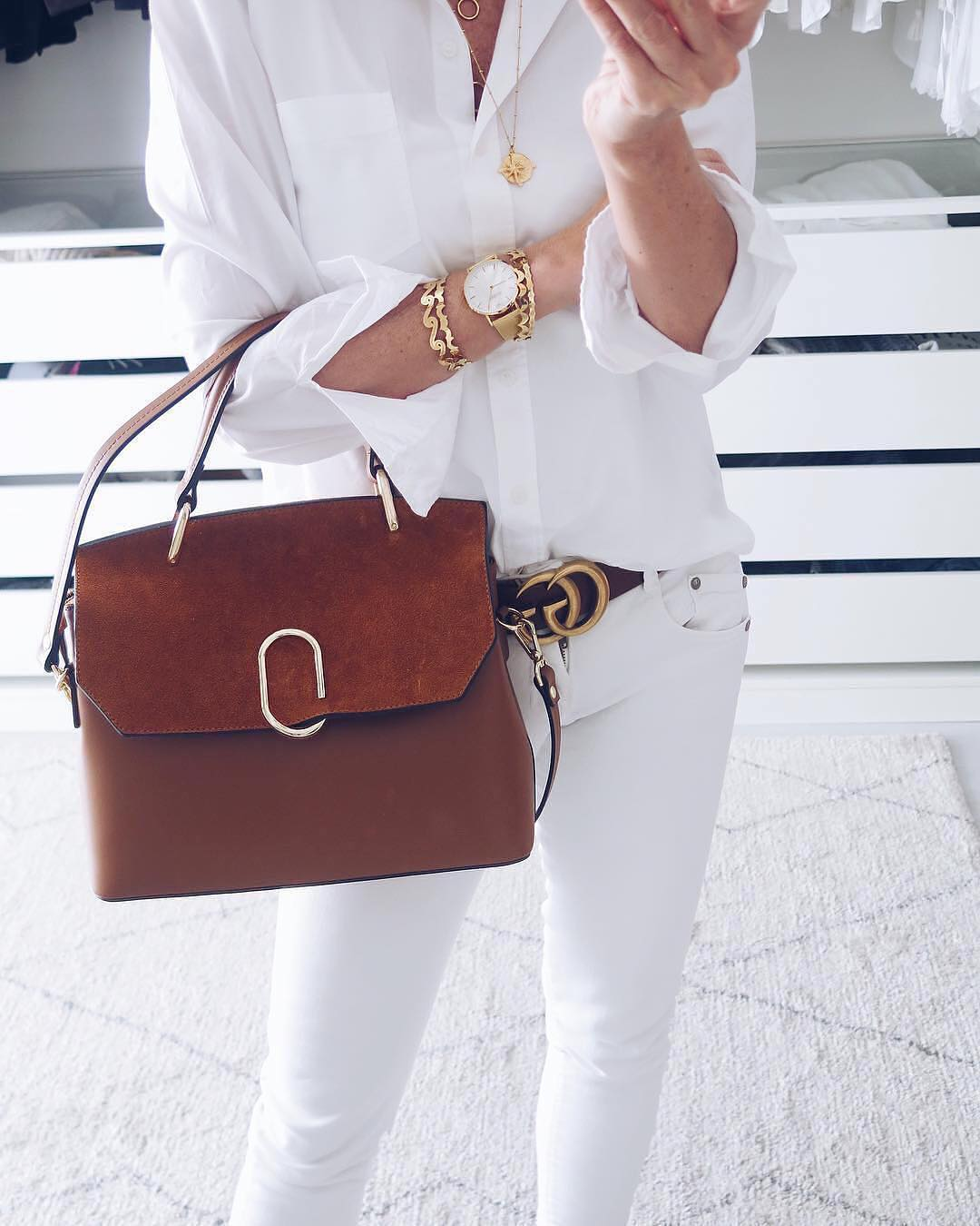 All White OOTD With Gold Arm Party, Brown Bag And Black Belt 2020