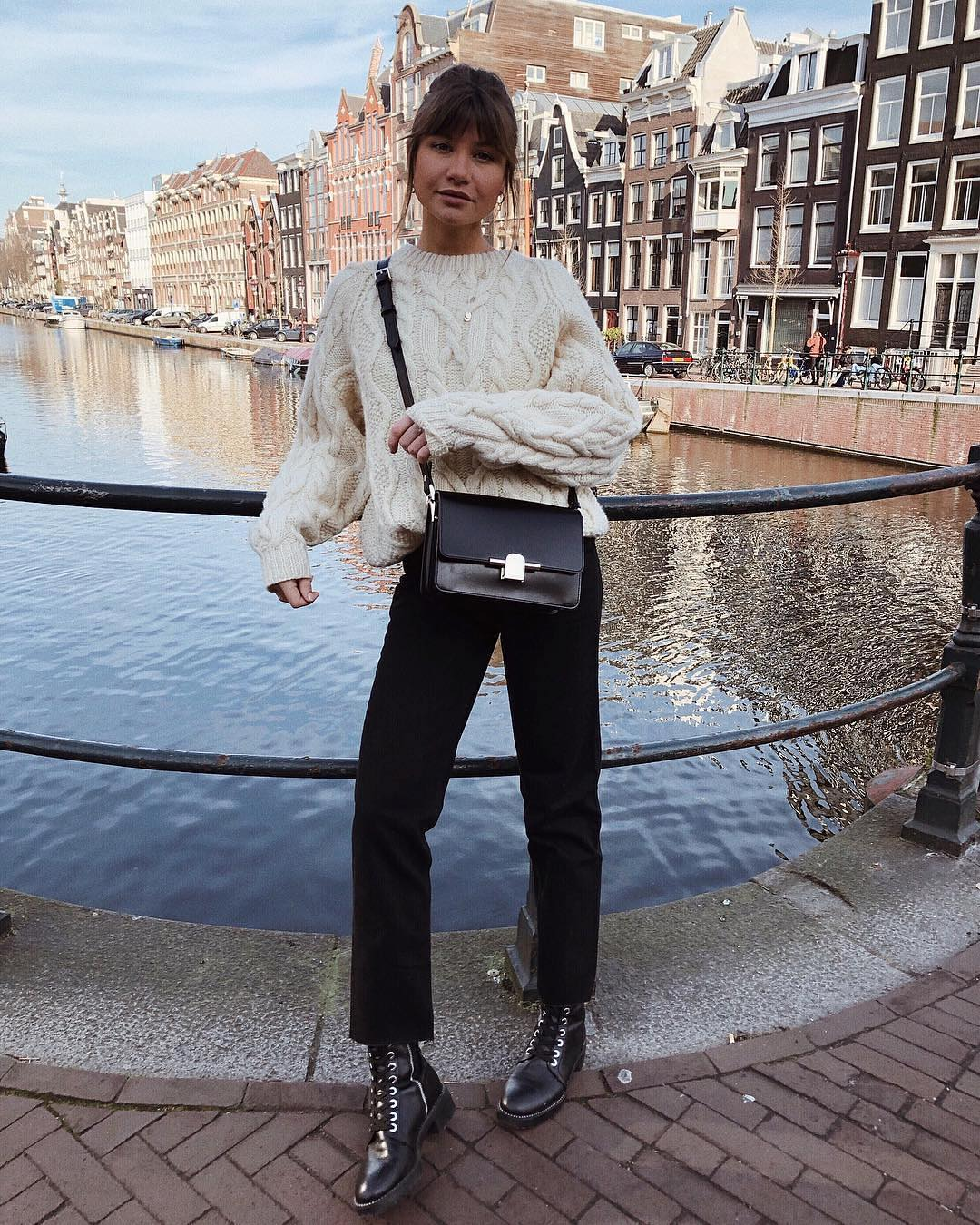 White Sweater And Black Pants For Amsterdam Street Walks 2019
