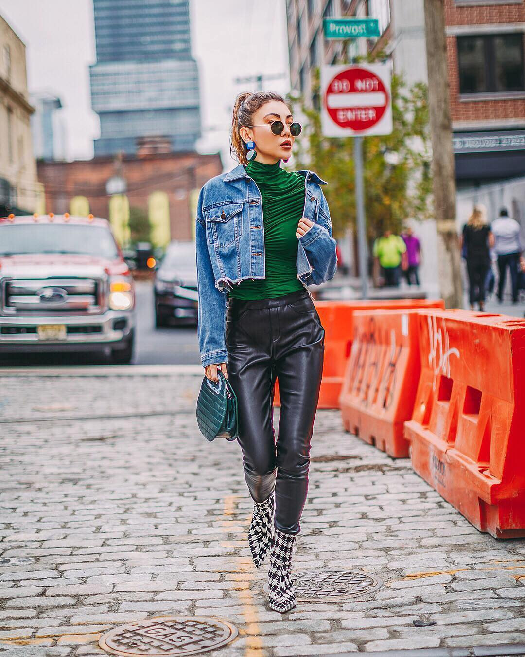 Denim Jacket And Black Leather Pants For Urban Street Walks 2019